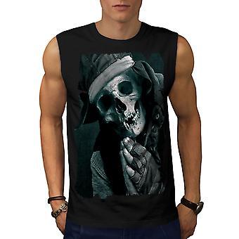 Pray Skeleton Death Skull Men BlackSleeveless T-shirt | Wellcoda