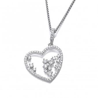 Cavendish French CZ Heart and Tumbling Stars Pendant without Chain