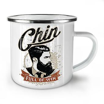 Chin Full Of Win NEW WhiteTea Coffee Enamel Mug10 oz | Wellcoda