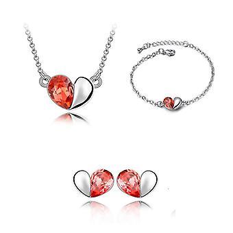 Brand Orange kärlek hjärta Halsband armband och Örhängen Set