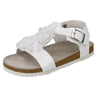 Girls Spot On Flower Trim Sandals H0277