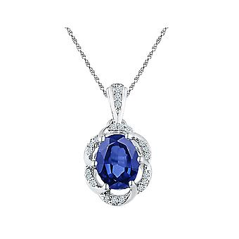Lab Created Blue Sapphire 1.60 Carat (ctw) Drop Pendant Necklace in 10K White Gold with Diamonds 1/10 (ctw) and Chain