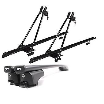 Roof Bars & 2 Bike Carriers for Audi A6 Avant 2005-2011 with Solid Closed Rails
