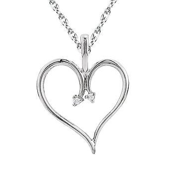 Heart Diamond Pendant & Chain 10 Karat White Gold 1