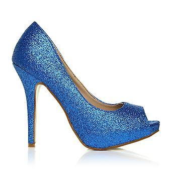 TIA Blue Glitter Stiletto High Heel Platform Peep Toe Shoes