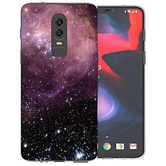 OnePlus 6 lilla og svart Constellation TPU Gel saken
