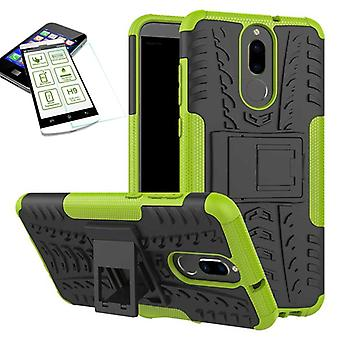 Hybrid case 2 piece green for Huawei mate 10 Lite + tempered glass bag case cover