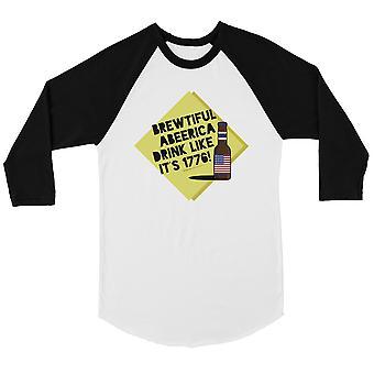 Brewtiful Abeerica Womens Baseball Shirt 4th of July Raglan Tee