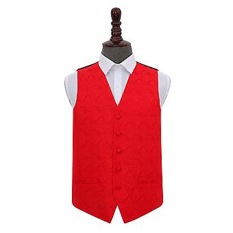 Red Paisley Wedding Waistcoat
