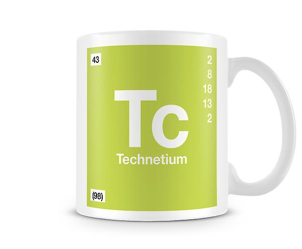 Element symbool 043 Tc - Technetium afgedrukt mok