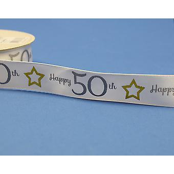 25mm White Happy 50th Birthday Printed Ribbon - 20m   Ribbons & Bows for Crafts