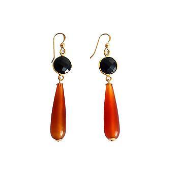 Gemshine - damas - pendientes - oro plateado - cornalina - negro Onix - naranja - - partido gotas - 5 cm