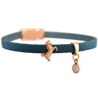 GEMSHINE niebieska skórzana bransoletka z jednorożca i kwarc. Dziewczyny na prezent srebro lub złoto pozłacane rose. W przypadku dobrze. W Monachium, Niemcy