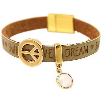 Damen - Armband - Frieden - Peace - WISHES - Rosenquarz - Braun Sand - Magnetverschluss