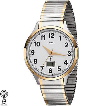 JOBO menn armbåndsur radio radio klokke bicolor rustfritt stål kabel gull belagt dato