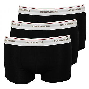 DSquared2 3-Pack Jersey Cotton Stretch Low-rise Boxer Trunks, Black