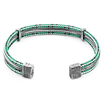 Anchor & Crew Green Dash Aire Silver and Rope Bangle