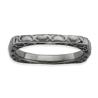 2,25 mm Sterlingsilber Ruthenium-Beschichtung stapelbar Ausdrücke Polished Black-Plate Square Ring - Ringgröße: 5 bis 10