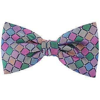 Knightsbridge Neckwear Diagonal Squares Silk Bow Tie - Multi-colour