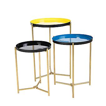 QAZQA Set of 3 Side Tables Yellow, Blue and Black - Enamel