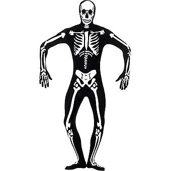 Skelett Glow in the Dark zweite Haut Kostüm, Brust 34