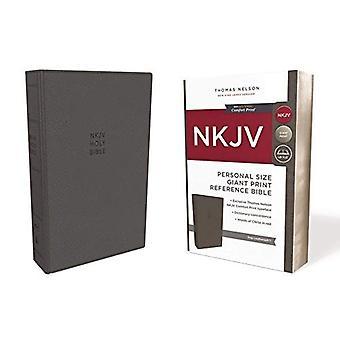 NKJV Bíblia de referência, pessoal tamanho gigante Print, Leathersoft, cinza, imprimir letra vermelha Edition, conforto