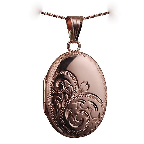 9ct Rose Gold 27x20mm hand engraved oval Locket with a curb chain