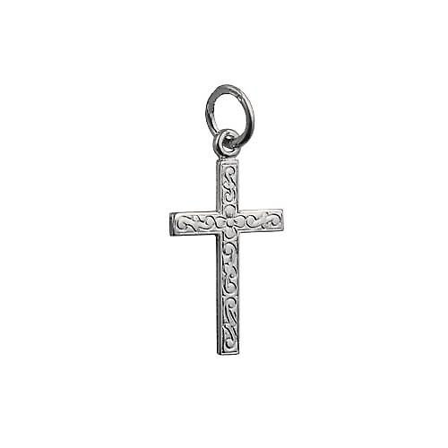 Silver 18x12mm embossed latin Cross
