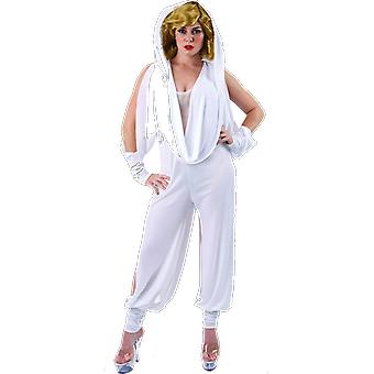Women Kylie Minogue Singer White Hooded Jumpsuit Music Video Fancy Dress Costume