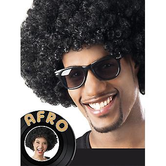 Mens Black Afro parykk 1970-tallet Fancy kjole tilbehør