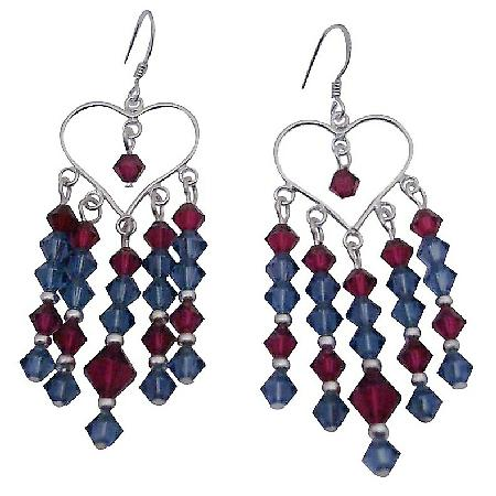 Swarovski Ruby Denim Crystals 92.5 Silver Chandelier Earrings