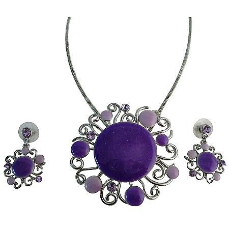 Purple Lilac Designer Round Necklace Set