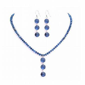 Metallic Blue Crystal Drop Down Jewelry Swarovski Necklace Set