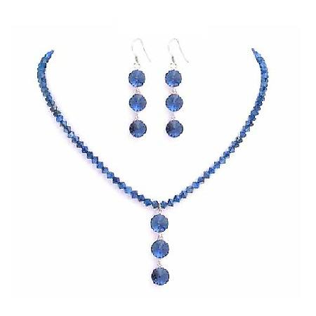 Metallic Blue Crystal Drop Down Jewelry Swarovski Necklace Set