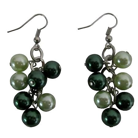 Lite & Dark Green Pearls Earrings Inexpenisve Pearls Bunches Earrings