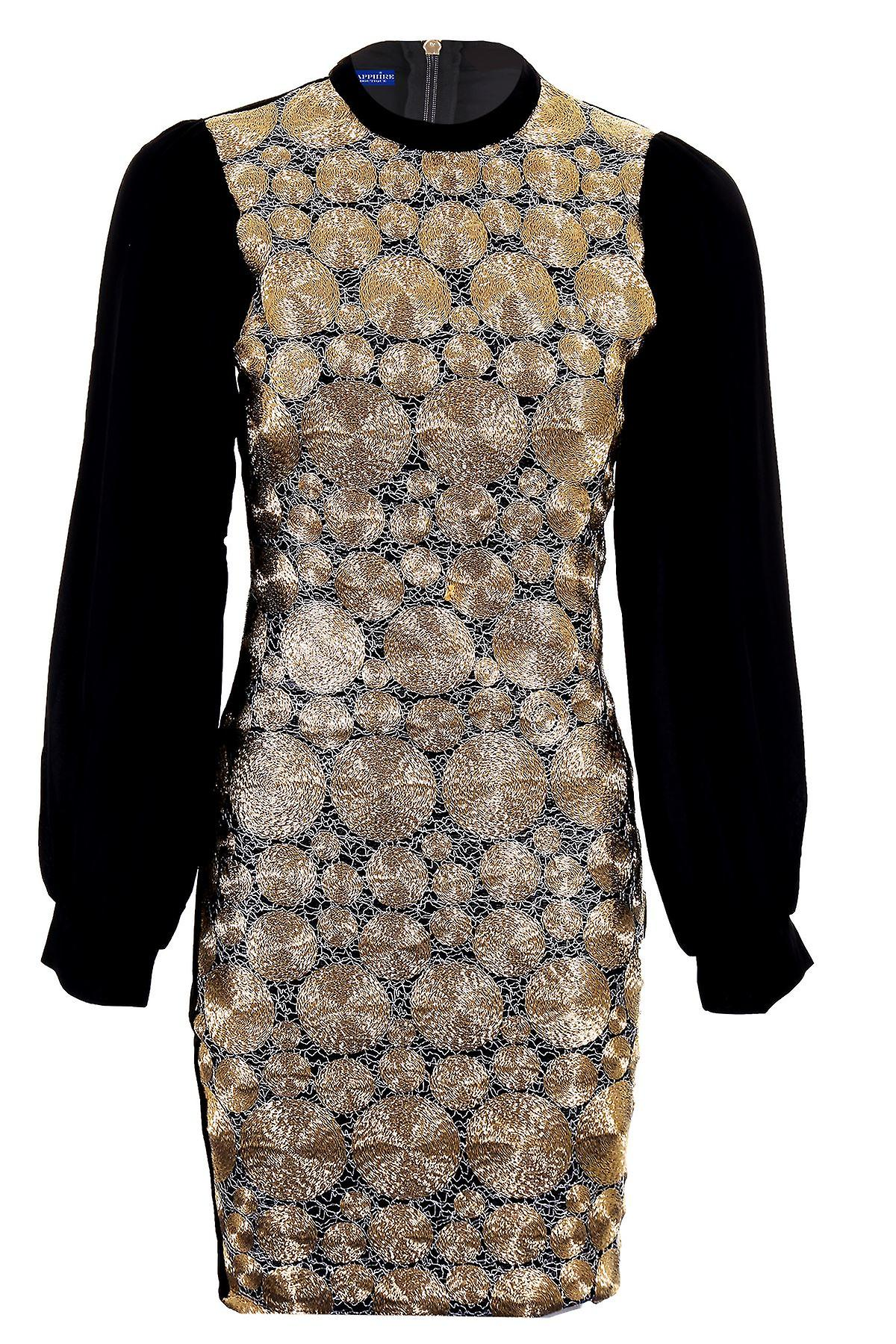 Ladies Chiffon Sleeve Gold Black Texture Wired Plain Back Bodycon Womens Dress