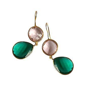 Gemshine oorbellen Rose Quartz en toermalijn druppels in 925 zilver of goud verguld