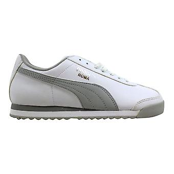 Puma Roma grundlegende Jr weiß/grau-Puma Silber 354259 02-Grundschule