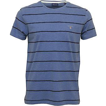 Gant Breton Stripe Crew-Neck T-Shirt, Denim Blue Melange