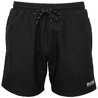Boss Starfish Swim Shorts, Black With White Contrast