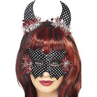Set di maschera e corna di diavolo, nero, argento e rosso