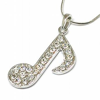 The Olivia Collection Clear Rhinestone Set Musical Note Pendant on 18