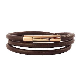 Lederkette Lederband 6 mm Herren Halskette Braun 17-100 cm lang mit Hebeldruck Verschluss Rose Gold Rund