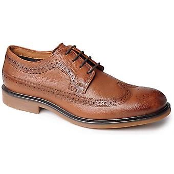 Mens Leather Formal Shoes Lace Up Brogues Smart Office Suit Casual