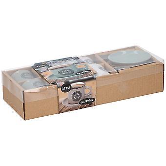12 Piece Ceramic Espresso Mini Coffee Mug Cup & Saucer Gift Boxed Set 89 ml