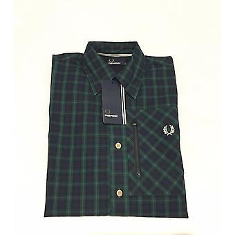 Fred Perry Herren Zip Pocket Lamont Tartan-Langarm-Shirt - M7378