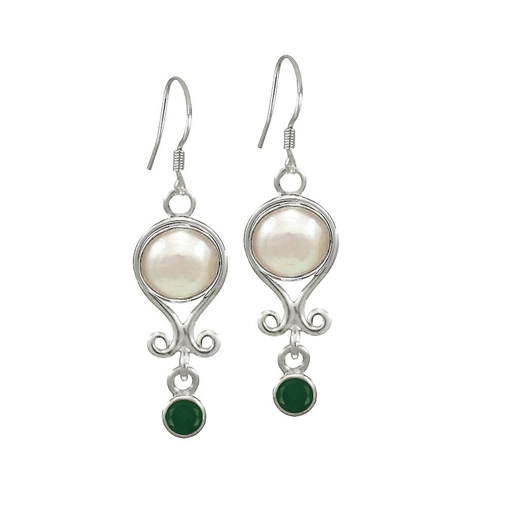 Eternal Collection May Emerald And Pearl Sterling argent Birthstone Drop Pierced Earrings
