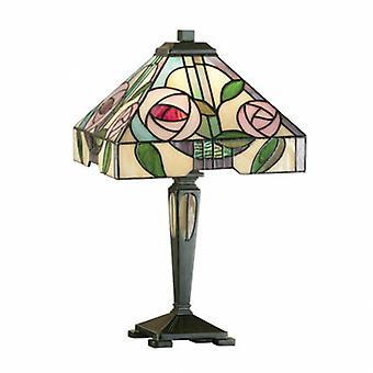 1 Light Small Table Lamp Dark Bronze, Tiffany Style Glass