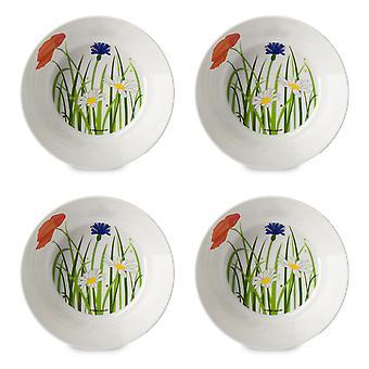 Mepal Set of 4 Flow Melamine Bowls, Fields of Flowers 14cm