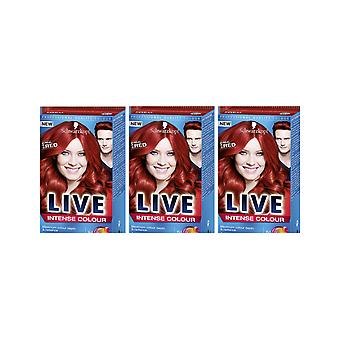 Schwarzkopf LIVE Intense 035 Real Red Pro Permanent Hair Colour Dye 3 For 2 Pack
